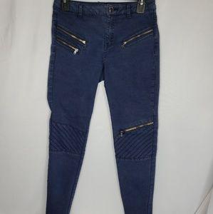 Zara Basic Modo Jeans Faded Blue Zippers Size 6.
